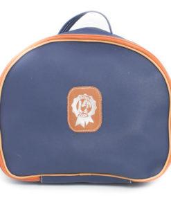 Reiten & Leder- Helmtasche in Blau -0