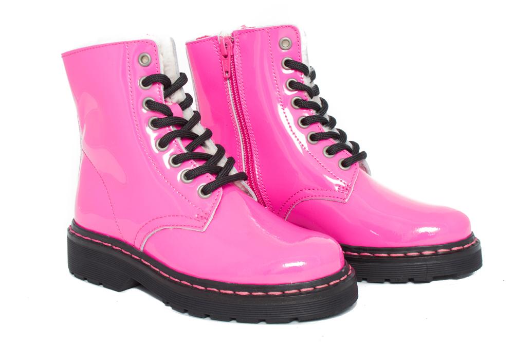 Pasitos- Lackleder Outdoorstiefel Mit Lammfellfütterung (Pink)-0