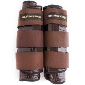 Mr. Stockings Leder-Vordergamaschen Krokolack braun WB (Lagerware)-0
