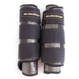 Mr. Stockings Leder-Vordergamaschen Krokolack grau VB (Lagerware)-0