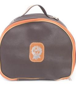Reiten & Leder- Helmtasche in Dunkelbraun -0